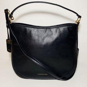 Ralph Lauren Black Leather Satchel Purse Handbag